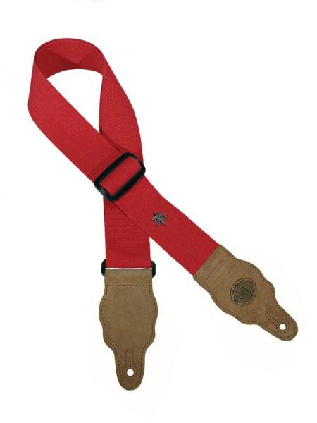 Gitarrengurt Stoff mit Lederenden rot