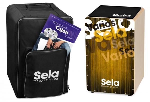 SELA Cajon Bundle mit GigBag, Pad und Schule